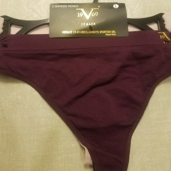 NEW NWT/'S VERSACE 1969 Seamless Thongs 2 Pack Purple /& Pink Size small